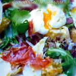 Салат с сухариками, рецепт с беконом и яйцом - готовит Джейми