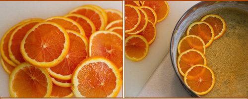 Выложить кружочки апельсинов