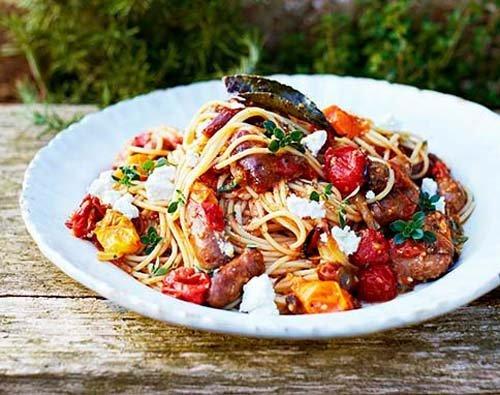 Как приготовить спагетти с колбасками Merguez