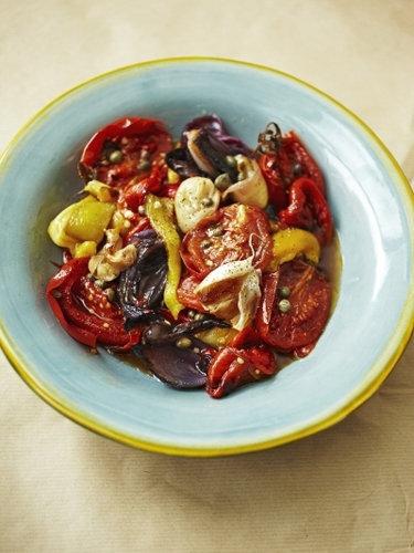 Постные салаты. Овощной салат - рецепт из запеченных овощей