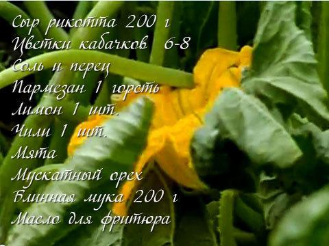 Продукты для закуски из цветков кабачков