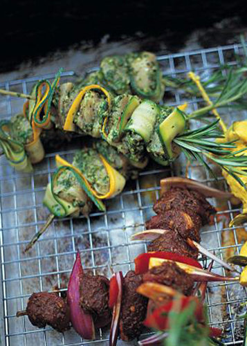 Рецепты для гриля. Шашлык из курицы рецепт с кабачками