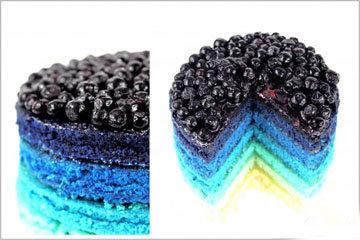 Торт Радуга с черничным кремом