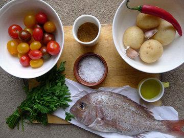 Продукты на 1 кг рыбы - 4 порции