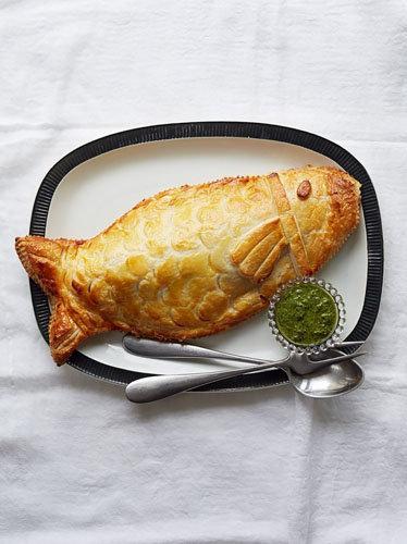 Филе рыбы в тесте - морской окунь с креветками