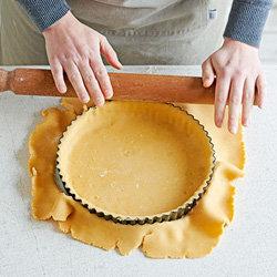 Раскатанное тесто положить в форму