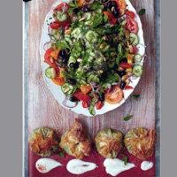 Салат с сыром фета в мешочках