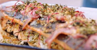 Жареный лосось и артишоки
