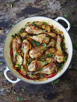 Куриные голени - с цветными перцами