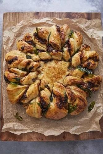 Домашний хлеб рецепт с начинкой из помидоров, оливок и моцареллы