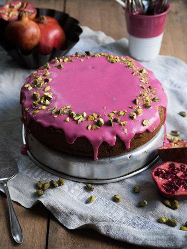 рецепт кекса в духовке с гранатовой глазурью